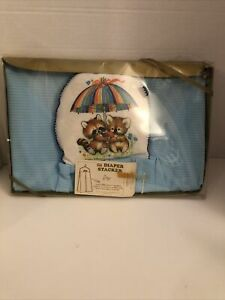 Vintage Critter Sitters Gift Diaper Stacker Morgan Made In USA Box Damage