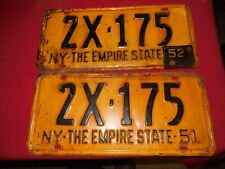 Pair 1951 yellow and black New York Empire State license plates 2X-175 52 tag