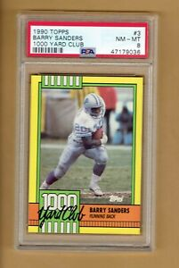 1990 TOPPS  1000 Yard Club   Barry Sanders  #3    PSA  8