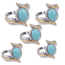 Magnificent Elegant Women Jewelry Oval Turquoise Gold Silver Plated Feather Ring