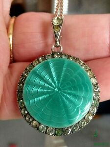 VINTAGE SILVER, ENAMEL & PASTE PENDANT WITH REAR COMPARTMENT. MOURNING ?