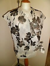 JOYCE RIDINGS White & Brown 100% LINEN Blouse UK 18