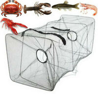 Fish Trap Net Fishing Gear Crab Prawn Shrimp Crayfish Lobster Crawdad Foldable~