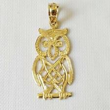 14k Yellow Gold OWL  Pendant / Charm, Made in USA