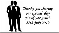 48 Same Sex Wedding Stickers Party Labels Sweet Bags Thank You Personalised