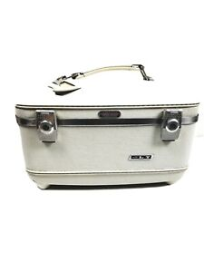 Vintage American Tourister Cosmetic Case Train Luggage White w/Key