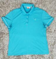 Womens Puma Cool Cell Aqua Blue Short Sleeve Golf Polo Shirt Size XL