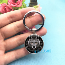 Wolf Black Photo Tibet Silver Keychains Rings Glass Cabochon Key chain -193