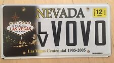 """NEVADA LAS VEGAS CENTENNIAL VANITY LICENSE PLATE """" LV VOVO """" VO VO VOLVO VULVA"""