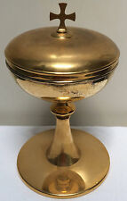 GOLD PLATED CIBORIUM - CUP STERLING COMMUNION - 479 - (CHURCH CHALICE HOST WINE)