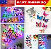 12 Pcs/Set LED Glowing 3D Butterfly  Wall Stickers Night Light Home DIY Decor US