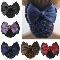 Pro Bow Barrette Hair Clip Cover Bowknot Bun Snood Hairnet Hair Accessory Pour