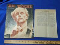WWII History Fritz Busch Anti-Nazi/Hitler Letter Die Woche 1944 Wilhelm