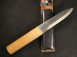 VINTAGE JAPANESE SIGNED HUNTING KNIFE  FORGED IRON LAMINATED SAMURAI STEEL