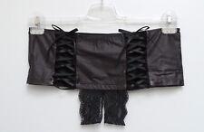 NEU Damen Stretch Panty ouvert Lederoptik mit feiner Spitze in schwarz Gr.40/42