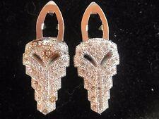 Art Deco Vintage Clear Rhinestone Silver Duette Fur Clips Pin Brooch