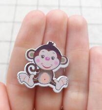 10 Bottoni in legno a forma di Scimmia - Scimpanzè - Gorilla - Giungla 28x29 mm