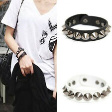 Punk Gothic Faux Leather Rivet Stud Spike Bracelet Cuff Bangle Wristband Black