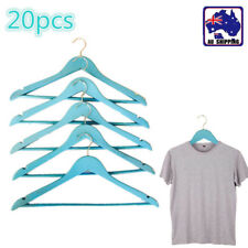 20x Blue Clothes Hanger Hook Wood Timber Hangers Coat Clothing HFRAC7796x20