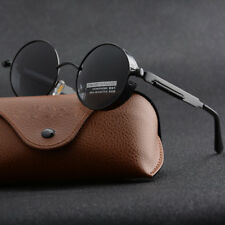 Vintage Polarized Steampunk Sunglasses Mens Brand Design Round UV400 Sun glasses