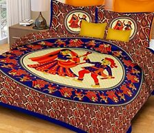 Jaipuri Print Cotton Double Bedsheet with Set of 2 Pillow Cover - Blue