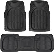 Sharper Image Shell Rubber Floor Mats Black Heavy Duty Deep Channels for Car 3pc