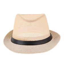 Sun Cap Mens Women Fedora Trilby Wide Brim Straw Hat Summer Beach Hat Panama