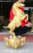 80CM Huge China Bronze Horse Horses Running Success  Animal Dragon Beast Statue