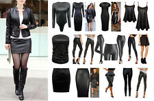 New Womens PU PVC Wetlook Bodycon Dress Boobtube, Bodysuit Skater Skirt Leggings