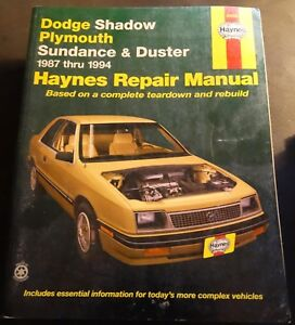 1987-1994 HAYNES DODGE SHADOW & PLYMOUTH DUSTER SERVICE MANUAL 30055 (202)