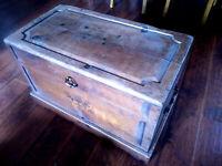 Vintage  Wood Carved Blanket Chest Trunk, Coffee Table, Vintage