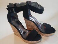 Unity By Carlos Santana Women's Becky Platform Wedge Quarter Strap Sandals Black