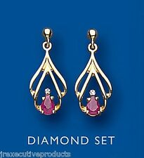Ruby and Diamond Earrings Yellow Gold Drop earrings Natural Ruby and Diamond