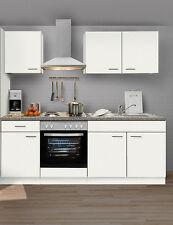 Küchenzeile 'Favorit 11', Küche 210cm Weiß Küchenblock mit E-Geräte u. Spüle