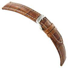 22mm Morellato Genuine Italian Leather Alligator Grain Matte Tan Watch Band 3252