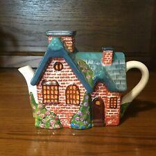2005 Thomas Kinkade Red Brick Cottage Tea Pot Removeable Chimney Lid