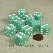 NEW 10 Pastel Green w White D6 6 Sided RPG Bunco Game Dice Set 16mm 5/8 inch