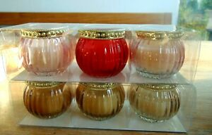 6er Set TEELICHTHALTER Kerzenständer Teelichtgläser  D 5 cm H 5,5 cm mit Kerze