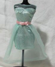 Mint Green Sleeveless Short Glittery Sparkle Dress Hi/Lo Tulle Overskirt