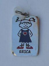 Erica NAME CHARM dog tag pendant zipper pull key chain flair ganz