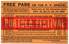 PORTOLA FESTIVAL FREE PASS CALIFORNIA COMIC TRAIN TICKET POSTCARD 1909