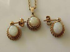 Di seconda mano 9ct Oro Giallo Opale Set di orecchini/ciondolo/catena (19 pollici)
