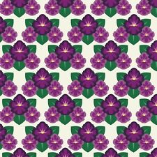 Fabric Flowers Violet State Rhode Island Art Deco on Cotton by the 1/4 yard