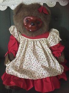 "Vtg Robert Raikes Rebecca Wooden Face Teddy Bear 22"""