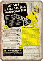 """Muculloch Motors Corporation Chain Saw Ad 12"""" X 9"""" Retro Look Metal Sign Z35"""