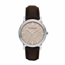 Burberry Men's The City Swiss Made Smooth Brown Leather 38mm Watch BU9011