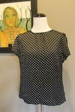 NEW J Crew Flutter Sleeve Drapey Polka Dot Top Black Ivory H3946 Sz 00 XXS