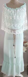 Carmen Kleid Nachthemd von Shein Gr. 1XL 42 44 46 mit Volant aus Spitze & Gürtel