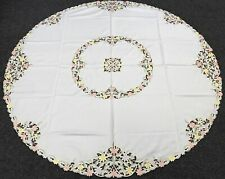 """90"""" Round Spring Daisy Embroidery Polyester Satin Fabric Tablecloth 8 Napkins"""