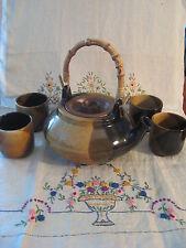 Pottery Craft Teapot plus 4 Teacups Handmade stoneware Multi Brown Dip Glaze USA